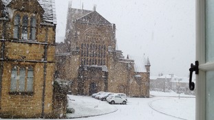 Surprise snow at Sherborne Abbey.