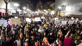 Thousands of people took to the streets in protest in Oakland, California.