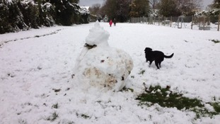 There was even enough for a snowman in Combe Down, Bath.