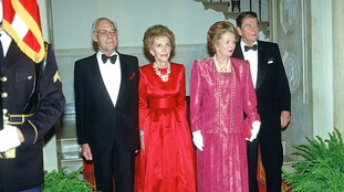 Denis Thatcher, former first lady Nancy Reagan, Prime Minister former PM Margaret Thatcher of Great Britain, and former President Ronald Reagan