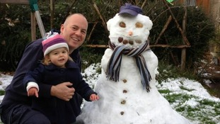 Dave, Evie and snowman Bill.