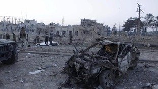 The site of the explosion in Mazar-i-Sharif.