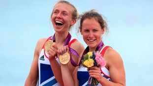 Great Britain's Sophie Hosking (right) and Katherine Copeland celebrate winning gold in the final of the lightweight women's double sculls