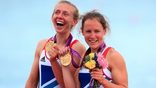 Great Britain&#x27;s Sophie Hosking (right) and Katherine Copeland celebrate winning gold in the final of the lightweight women&#x27;s double sculls