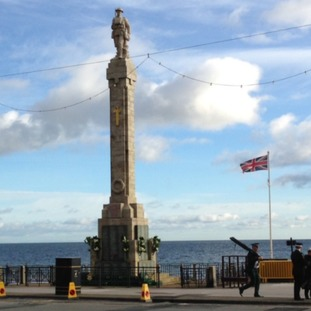 'The Manxman' stands on top of a pillar overlooking Douglas Promenade