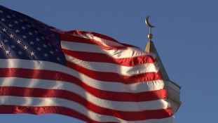 American flag and mosque