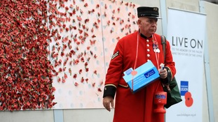 A member of the British Royal Legion pictured in front of a wall of poppies.
