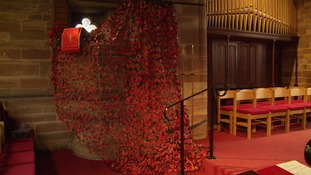 2000 poppies adorn the pulpit in Warrington