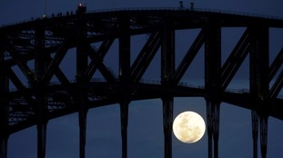 Participants climb the Sydney Harbour Bridge as the 'supermoon' rises.