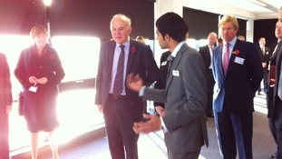 Vince Cable arrives at the Mira Technology Park in Birmingham