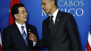 President Obama with China's President Hu Jintao at the G20 Summit in Los Cabos