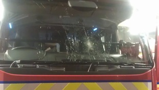 Fire engine pelted with bricks by youths in Rochdale