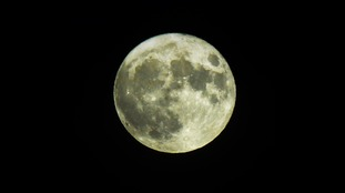 A clear view of the supermoon at Melbourn, South Cambridgeshire.