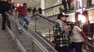 Anti-Trump protester tackled while making speech in student union