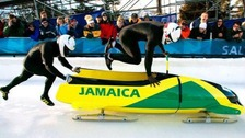 Jamaican Bobsled team racing in Calgary