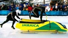 Jamaican Bobsled team racing in Calgary