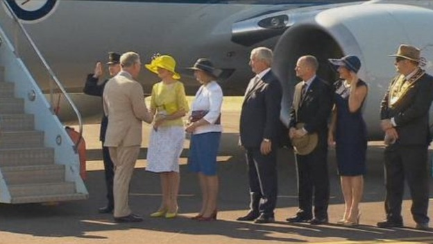 Prince Charles is greeted by Australian Governor General Quentin Bryce