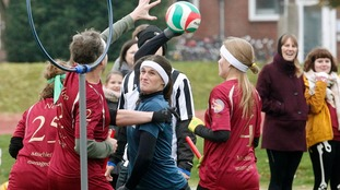Players of the Ruhr Phoenix (blue) and Muenster Marauders (red) in action during a quidditch match
