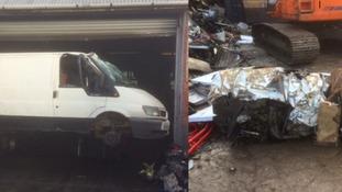 Van belonging to suspected fly-tippers put through crusher