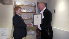The High Sheriff of Somerset presented Toby with the award