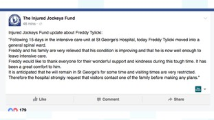 The Injured Jockeys Fund put this message on Facebook