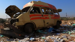 A damaged ambulance is pictured after an airstrike on Tuesday.