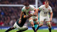 Tom Wood in action against South Africa.