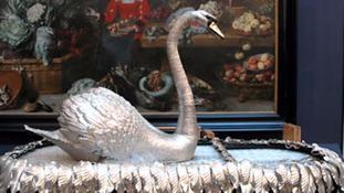 Bowes Museum Silver Swan flies nest