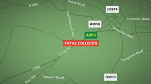 The collision happened near St Mewan on the A390