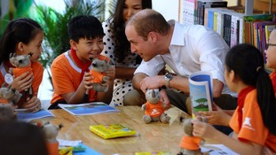 Prince William meets Vietnamese pupils learning about endangered rhino