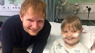 Seriously-ill girl gets dream visit from her hero Ed Sheeran