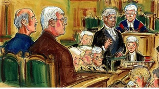 Court sketch of Michael Boyle and David Roads