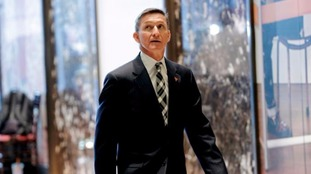 Retired U.S. Army Lieutenant General Michael Flynn arrives at Trump Towers.