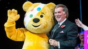 Sir Terry with the Children in Need mascot  Pudsey the bear