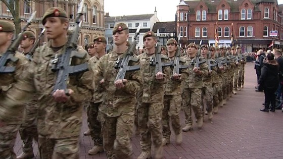 Royal Anglian Regiment parading through Ipswich