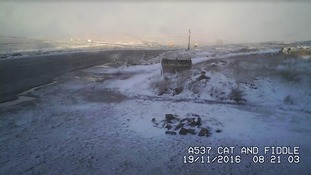 Live cameras in Derbyshire capture snowfall in the Peak District overnight.