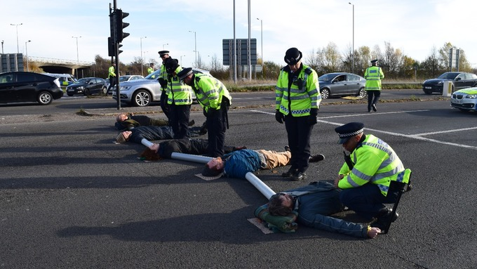 Protesters blocked the motorway.