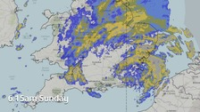 The Met Office rainfall radar image at 6.15am on Sunday 20 November showing Storm Angus centred over SE England.