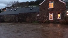 The River Caen in Braunton was full and fast this morning.