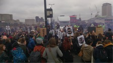 The demonstrators blocked Waterloo Bridge
