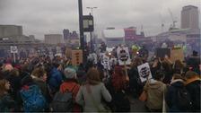 The demonstrators blocked Waterloo Bridge