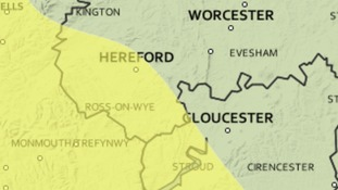 Yellow warning of rain for Herefordshire