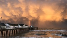 Southwold pier in Suffolk on a stormy day in November 2016.