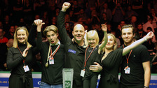 Mark King and his family celebrate his Northern Ireland Open victory.