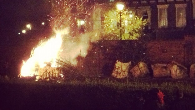 A bonfire burns bright at Summerhill Square