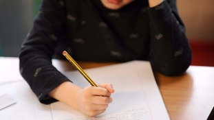 A child doing school work
