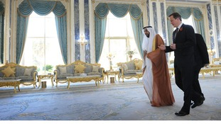 David Cameron at the Al Rawda Palace in Abu Dhabi with the President of the UAE His Highness Sheikh Khalifa bin Zayed al Nahyan