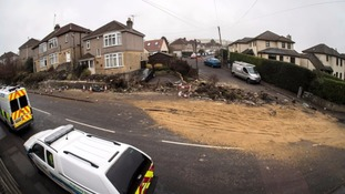 The crash scene in the village of Weston in Bath.