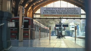 Trains stand idle in Athens
