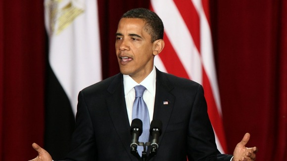 President Barack Obama delivers a speech in the Grand Hall of Cairo University in June 2009